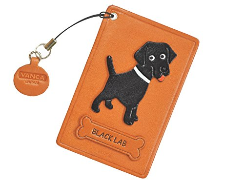 Black Labrador Retriever Leather Dog Pass/ID/Credit/Card Holder/CaseVANCA Handmade in Japan (Labrador Business Card Holder)