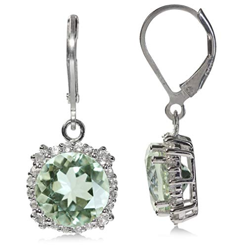 7.5ct. Natural Green Amethyst & Topaz White Gold Plated 925 Sterling Silver Leverback Earrings