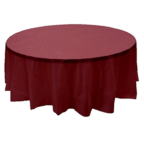 24 pcs (1 case) of Plastic Heavy Duty Premium Round tablecloths 84'' Diameter Table Cover - Burgundy by CC