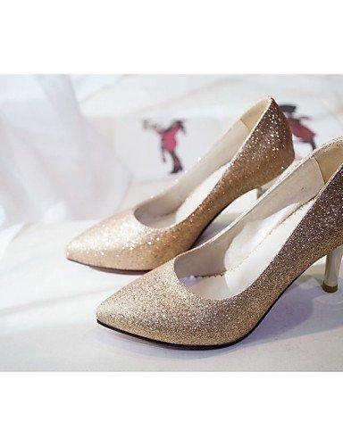 15cc85d1b7e50e argent talons talon Silver Femme mariage Chaussures Bureau talons Soirée  amp; Aiguille similicuir Evénement Travail Or Shangyi gv8cnOZv