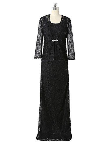 Angel Formal Dresses Womens Vintage Black Lace Mother Of The Bride Dresses With Jackets(18,Black)
