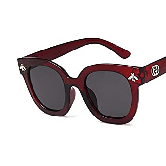 c1b28228796 Shopystore Wine Red  2018 Fashion Square Frame Bee Sunglasses Women Luxury  Brand r Vintage S  Amazon.in  Clothing   Accessories