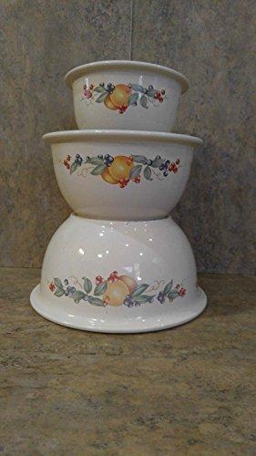 Corning Corelle Coordinates Abundance Set of 3 Mixing Bowls 3Qt, 2QT, & 1QT Stoneware