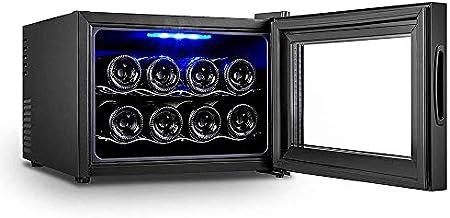 Refrigerador de vino - Refrigerador de vino pequeño, enfriador de 8 botellas, táctil, 39 Db en funcionamiento, puerta de vidrio, ajuste de 51 a 64 ° F, refrigerador compacto Bodega de vinos termoeléct