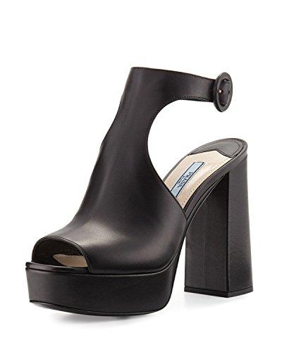 - Prada Leather Ankle-Wrap 115mm Sandal Shoes, Black 7.5B / 37.5EU