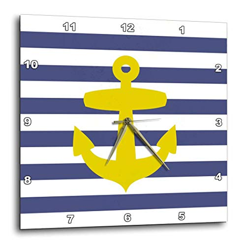 (3dRose dpp_57478_1 Retro Nautical Golden Yellow Anchor with Navy Blue Sailor Stripe Pattern-French Breton Stripes-Wall Clock, 10 by 10-Inch)