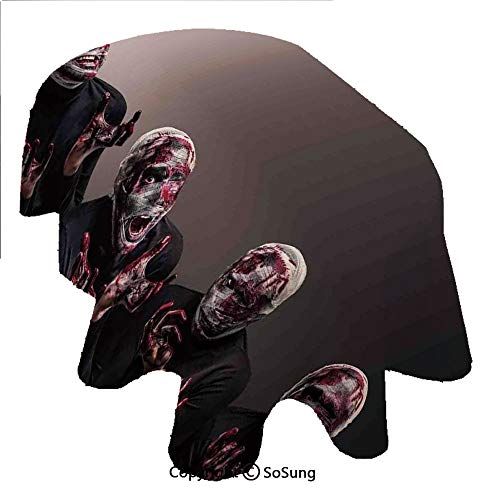 Large Ovals Wizard - Wizard Oval Polyester Tablecloth,Bloody Faces with Bandage of Screaming Zombie Looks Scary Spooky Dark Art Pattern,Dining Room Kitchen Oval Table Cover, 60 x 102 inches,Black