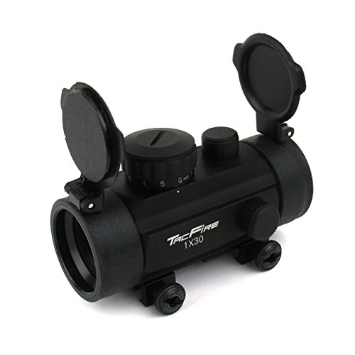 Crossbow Sight (Tacfire 1X30 Dual Ill. Red/Green Tri-Dot Reticle Weaver Base w/Flip-Up Lens/Crossbow, Black)