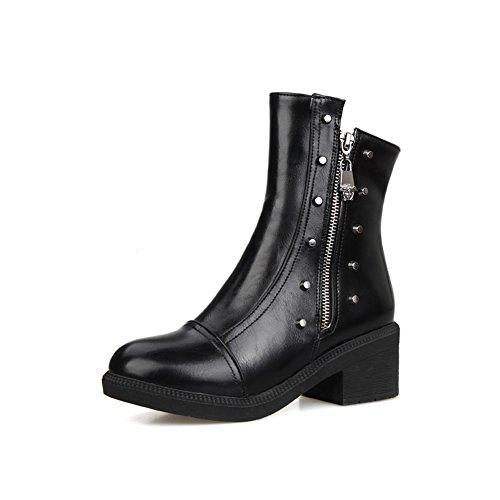 Leather Rivet Zipper Boots Chunky Imitated Heels Black Girls AdeeSu wvYIqq