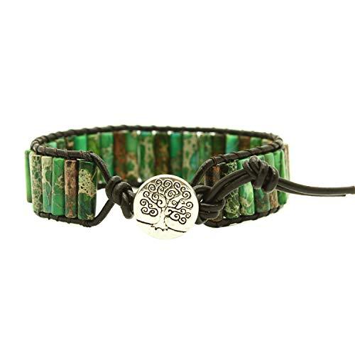 Bonnie Beaded Wrap Bracelet for Women Gemstone Beads Leather Bracelet Tree of Life Imperial Jasper Stone Beads Wrap Bracelet (Dark Green)