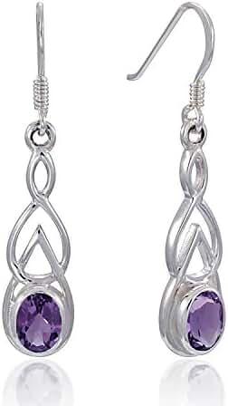 925 Sterling Silver Celtic, Genuine Purple Amethyst Stone Dangle Earrings - Nickel Free