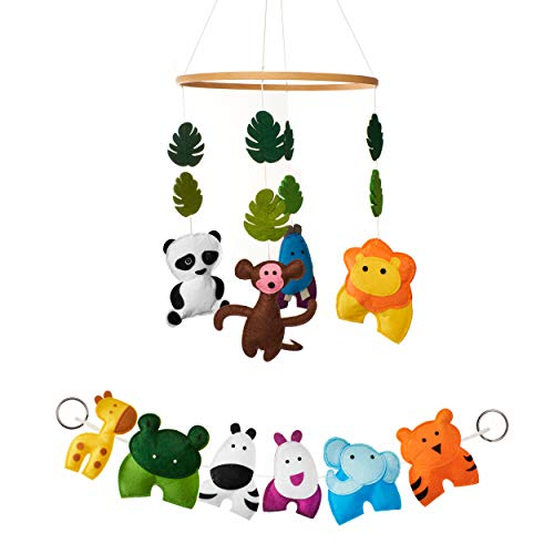Jungle Animals Crib Mobile and Nursery Decor Set (Mobile Baby Animals Shower)