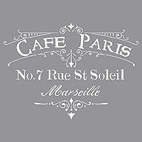 Rayher Stencil per pareti, motivo Cafà© Paris, stampo per pittura, shabby chic, vintage, decorazione murale, 30,5 x 30,5…