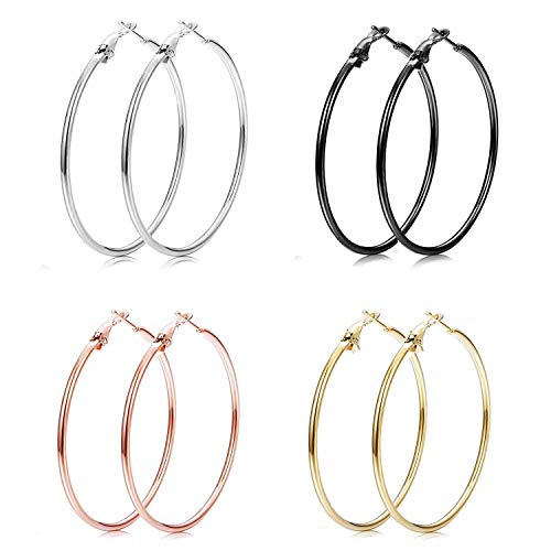 Paxuan Womens Hoops Earrings Set for Women Girls 50MM