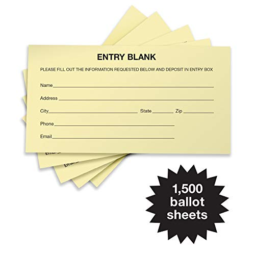 1500 Entry Forms - Includes 15 Blank Raffle Ticket Pads - Perfect for Contest Entry Forms, Raffles, Ballots, Giveaways, Leads, Drawings (Yellow) ()