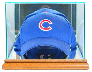 MLB Cap/Hat Glass Display Case, Walnut