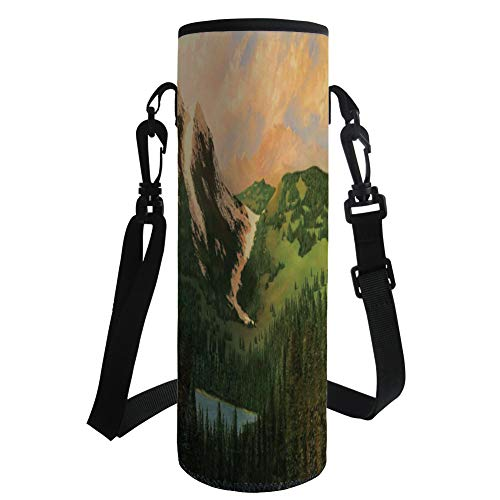 iPrint Water Bottle Sleeve Neoprene Bottle Cover,Country Decor,Rural Scenery in The Valley with Cloudy Sky on Northern Lands Lake Mod Nature Painting,Green Ecru,Fit for Most of Water Bottles by iPrint
