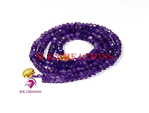 Faceted Amethyst Bead Necklace - Natural amethyst 3-4mm rondelle faceted beads 18