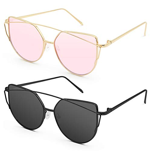 Livhò Sunglasses for Women, Cat Eye Mirrored + Transparent Flat Lenses Metal Frame Sunglasses UV400 (GOLD PINK+BLACK ()