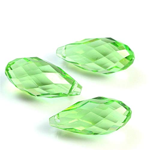 0pcs Crystal Glass Tear Drop Beads Plating AB Colors 10x20mm Fit Fashion Jewelry Necklace Bracelet for DIY - (Color: Light Green) ()