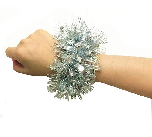 UPSTORE 1Pair(2PCS) Cheerleading Cheerleader Hand Flower Wristband Sports Party Decoration Accessories Dance Pompoms Cheer Pom for Kindergarten Colleage Team Spirit Corporate Events (Silver)