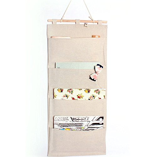 Co-link&Linen/Cotton Fabric Wall Door Cloth Hanging Storage Pockets Books Organizational Back to School Office Bedroom kitchen rectangle 4 Pocket Home Organizer Gift,13.8
