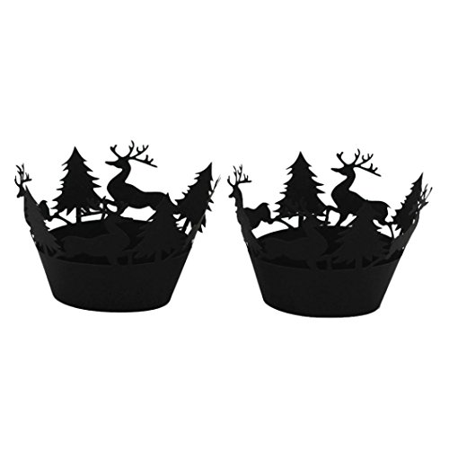 Lucoo Fashion 24Pcs Christmas Hollow Lace Cup Muffin Cake Paper Case Wraps Cupcake Wrapper (Black)