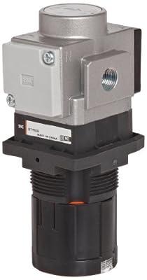 "SMC ARG20K-N02G1H-Z Regulator with Gauge in Handle, Relieving type, with Backflow Function, 7.25 - 123 psi Set Pressure Range, 28 scfm, Gauge in Handle, With Set Nut, 1/4"" NPT"