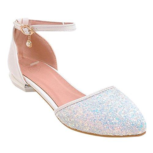 Mee Shoes Damen flach ankle strap Schnalle Pumps Weiß