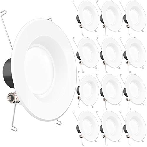 Sunco Lighting 12 Pack 5 / 6 Inch Smooth Recessed Retrofit Kit Dimmable LED Light, 13W (75W Replacement), 4000K Kelvin Cool White, Quick/Easy Can Install, 830 Lumen, Wet Rated