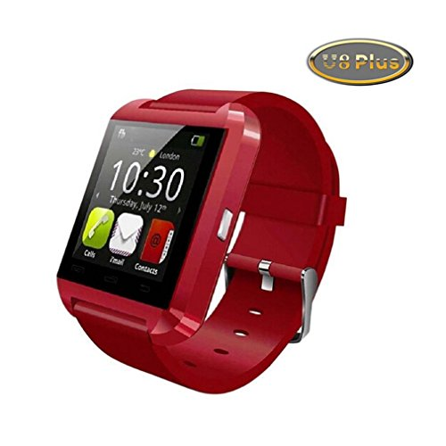 Bebone Upgraded Version U8 Plus Uwatch Bluetooth Smart Watch for IOS Iphone Android (RED)