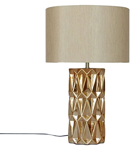 nu steel Copper Ceramic Table Lamp geo Pattern w/Shade 10in Base