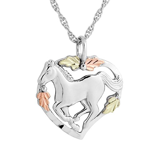 Black Hills Gold on Silver Horse in Heart Pendant