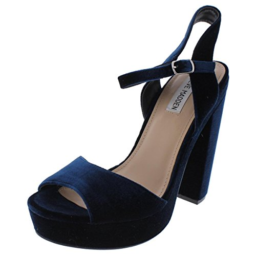 Steve Madden Womens Hasty Velvet Open Toe Dress Sandals Blue 8 Medium (Velvet Platform Sandals)