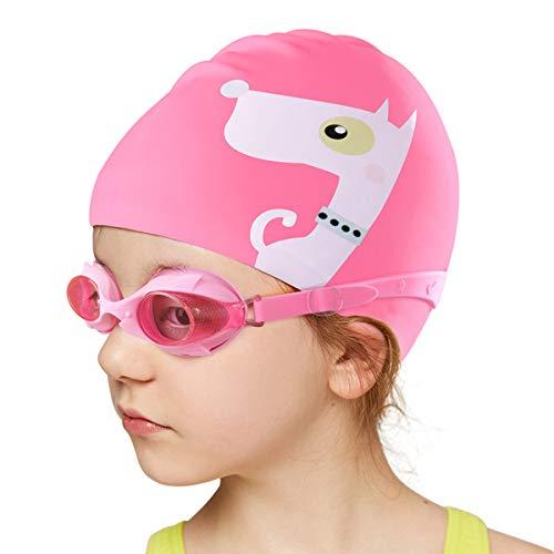 Kids Swim Cap and Swimming Goggles Set, Silicone Swiming Cap Goggles for Toddler Swim Team - Elastic Waterproof Swim Hat/Anti-Fog Crystal Clear Swim Goggles for Girl Age 3-10