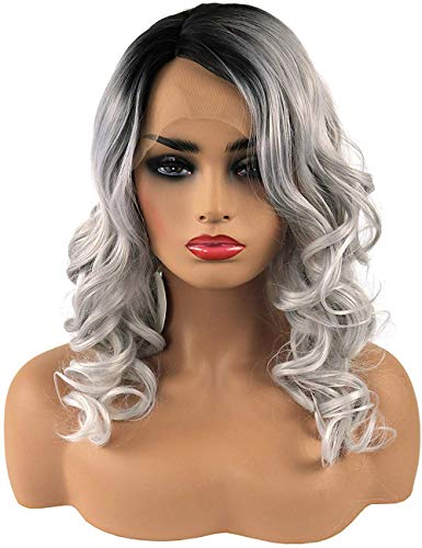 TopWigy Ombre Grey Lace Front Wigs Synthetic Heat Resistant 2 Tone Color black Roots Middle Length Curly Wigs Partial Parting Lace Frontal Wavy Wig 14 Inches(1B/Gray)