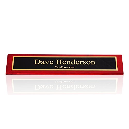 Personalized Desk Name Plate Red Rosewood Piano Finish, 2 x 10 | Naag Tag - Nameplate Desk Piano