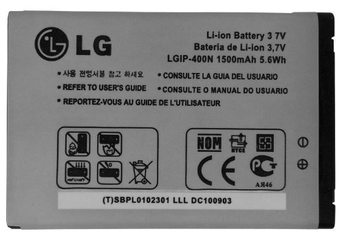LG LGIP-400N 1500 mAh Battery for LG Optimus GT540 / Optimus C LW690 / Optimus M MS690 / Optimus T P509 / Optimus S LS670 / Optimus U US670 / Optimus V VM670 / Optimus One P500 / Optimus One P503 / Puccini GT500S / Phoenix p505 / Thrive p506 / Genesis us760 / GX500 / GM750 / P520 / P525