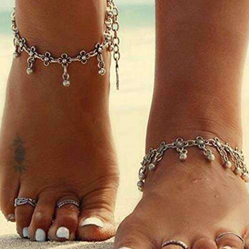 Milanco Boho Tassel Anklet Bracelet Beach Belly Dance Silver Layered Anklets Chain Foot Jewelry for Women and Girls(1PC)