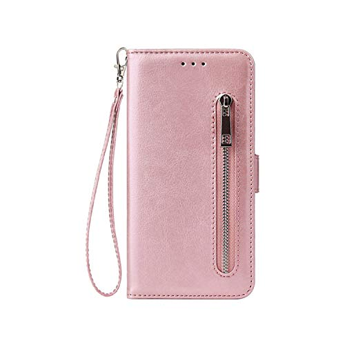 Cases for iPhone X 8 7 6S 6 Plus 5S SE Fashion Zipper Leather Phone Case Card Holder Wallet Cover for iPhone 7 Plus/XS/XS MaxXR,Rose Gold Flip Case,for iPhone Xs Max