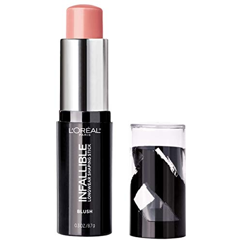 L'Oreal Paris Makeup Infallible Longwear Blush Shaping Stick, Up to 24hr Wear, Buildable Cream Blush Stick, 45 Sexy Flush, 0.3 oz.
