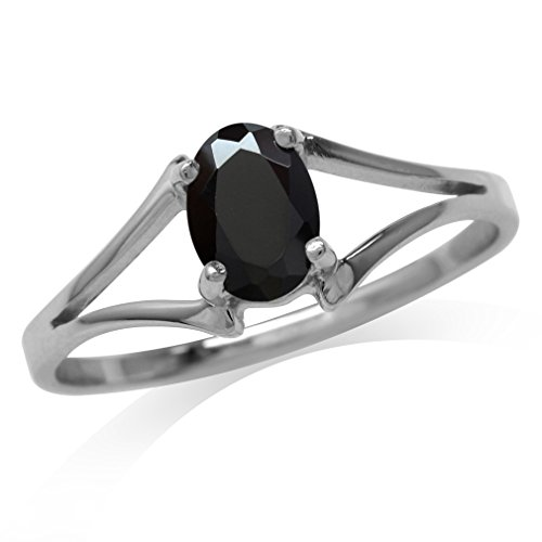 (Natural Oval Shape Black Spinel 925 Sterling Silver Solitaire Ring Size 8.5)