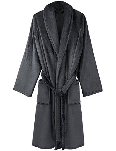 David Archy Men's Micro Fleece Robe Long Shawl Collar Bathrobe Dressing Gown (L/XL, Dark Gray)