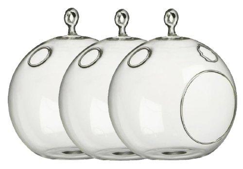 Best Value! 3-Pack - Glass Hanging Orb for Plant Terrarium or Votive Holder 4 1/2''