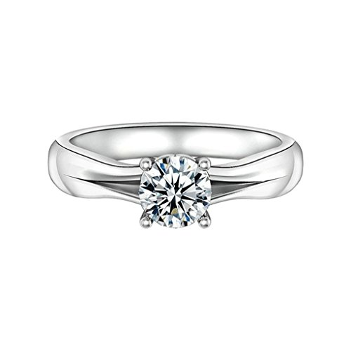 Bishilin Silver Plated Wedding Ring Engagement Ring With Three Big Zirconia Stones Size 8.5