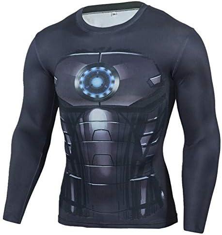 GYHS フィットネスMMAコンプレッションシャツ男性アニメボディービル長袖ワークアウト3DスーパーマンパニッシャーTシャツTシャツトップス (色 : TC102, サイズ : Aisan L)