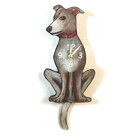 Swinging-Tail Pendulum Dog Clock - Greyhound