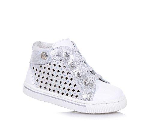 NERO GIARDINI - Weißer und silberner Sneaker aus Leder und Wildleder, made in Italy, seitlich ein Reißverschluss, Mädchen,