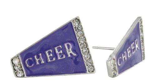 Flat Cheer Megaphone Rhinestone Stud Earrings - Purple Enamel with Clear Crystals