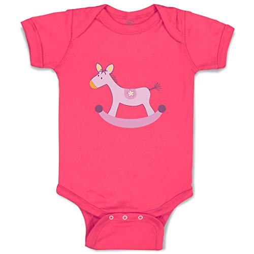 Custom Boy & Girl Baby Bodysuit Pony Toy Girly Funny Cotton Baby Clothes Hot Pink Design Only 12 Months